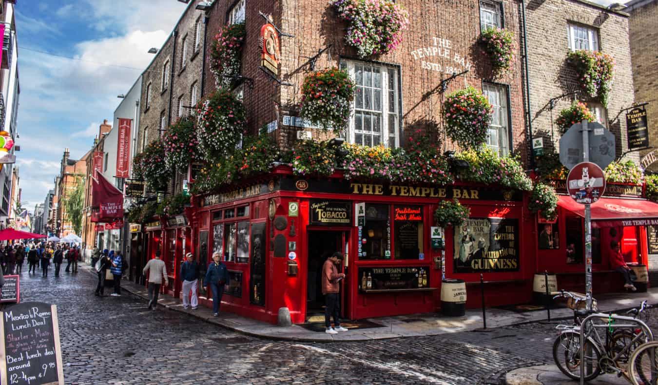 A popular bar on Temple Bar in Dublin, Ireland