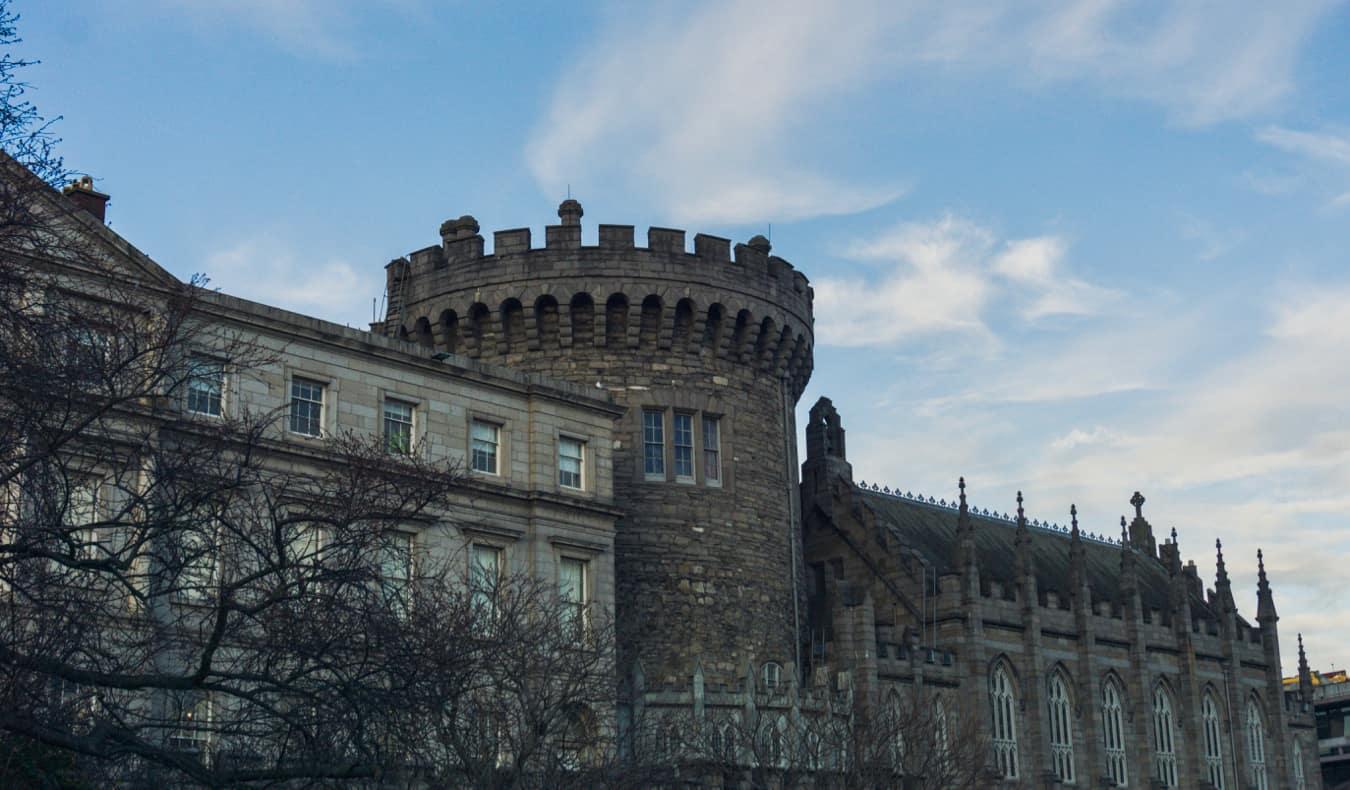 Dublin Castle on a rainy day in Ireland