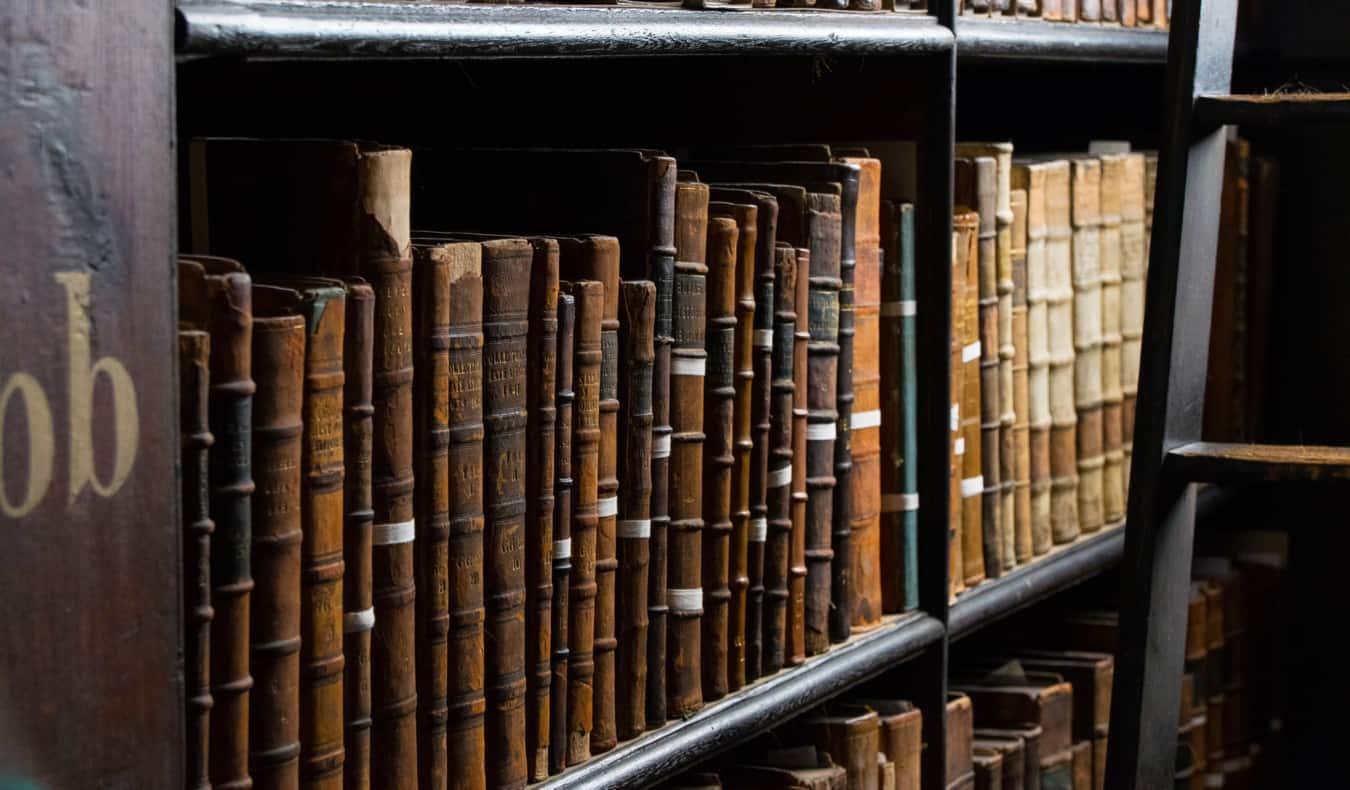 old books in Trinity College in Dublin
