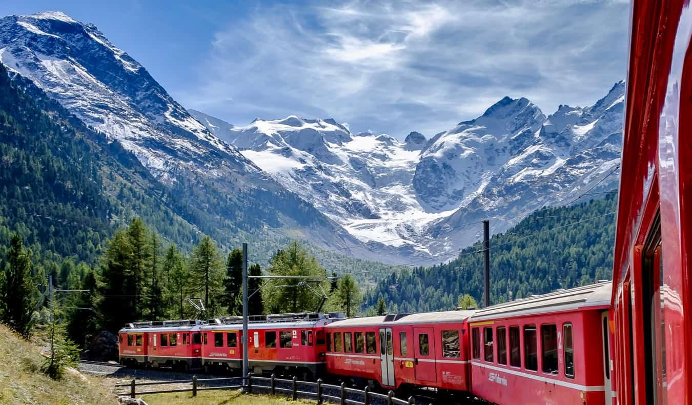 A high-speed train in Europe speeding in Switzerland