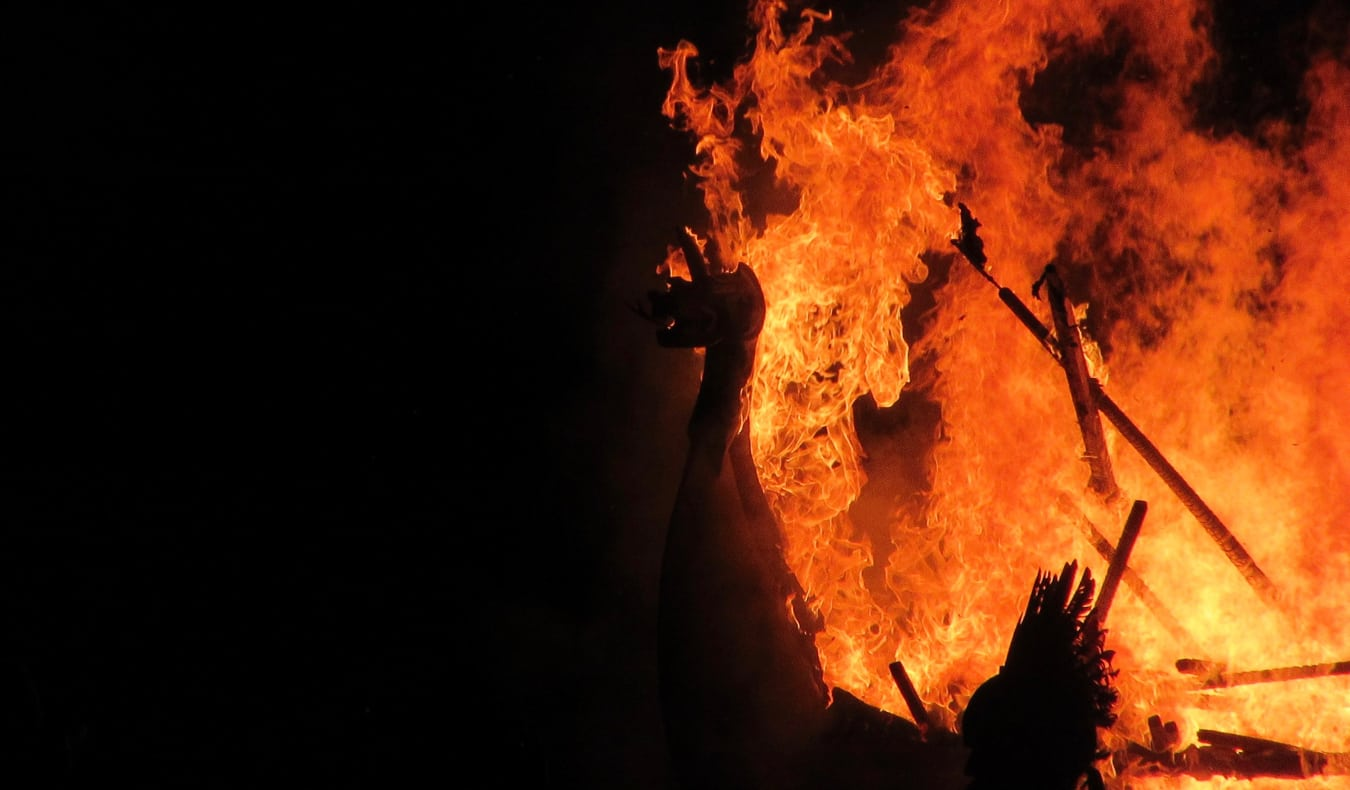 A burning viking boat during Up Helly Aa