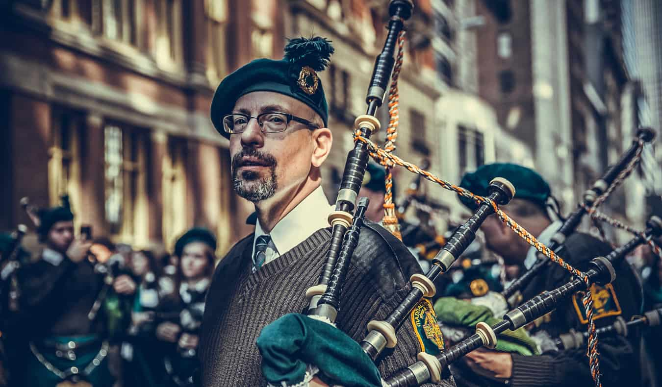 Bagpipes and a band playing on St. Patrick's Day
