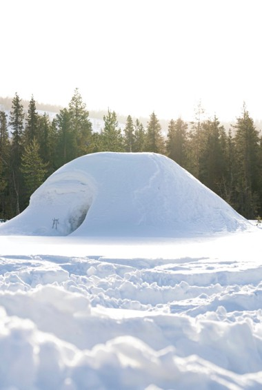 A small igloo in Finland in the winter