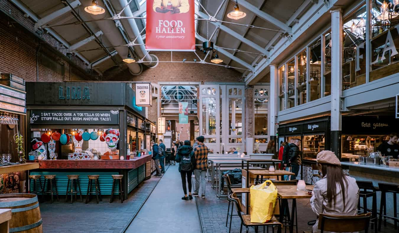 the interior of the Foodhallen food market in Amsterdam, Netherlands