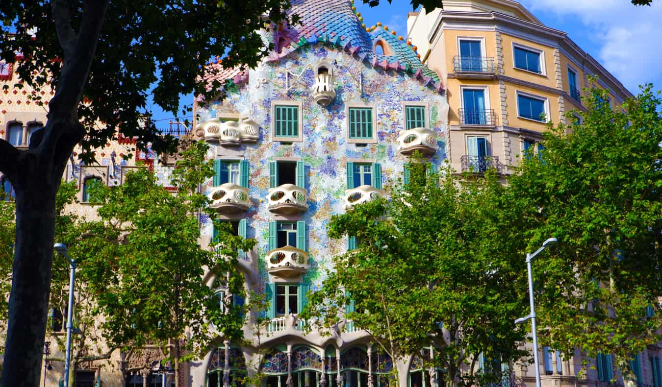 The colorful exterior of Caso Batllo in Barcelona Spain