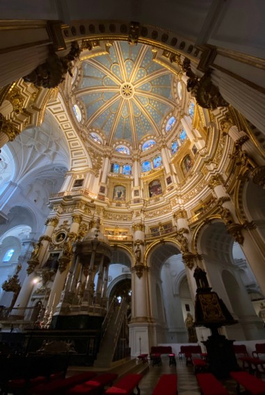 The ornate interior of the Grenada Cathedral in Spain