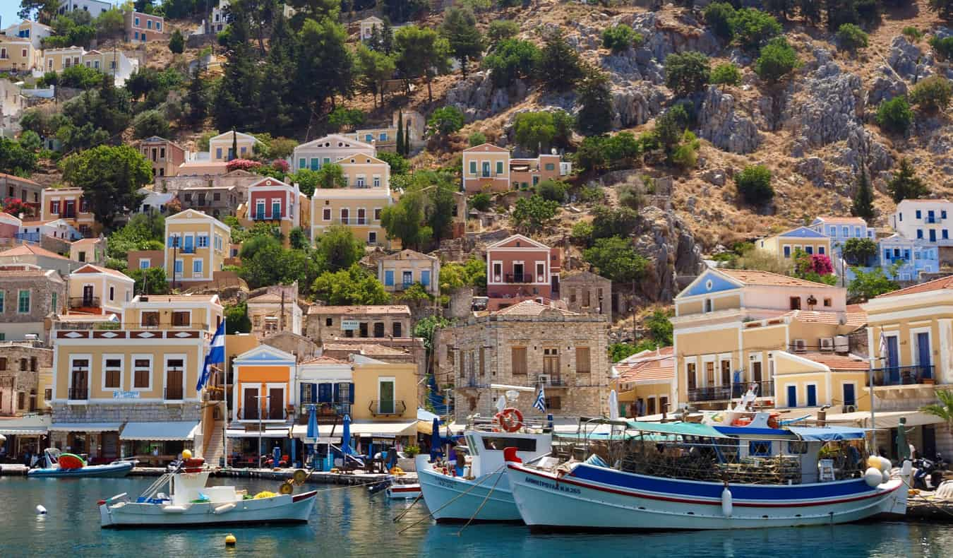 A small village built into the rugged coast of Greece