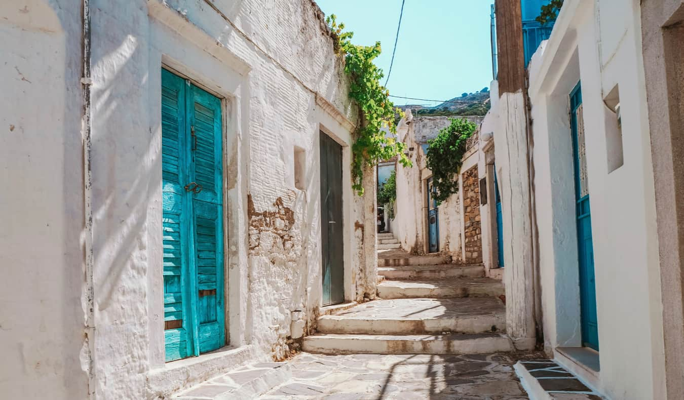 Charming alleys in Naxos, Greece