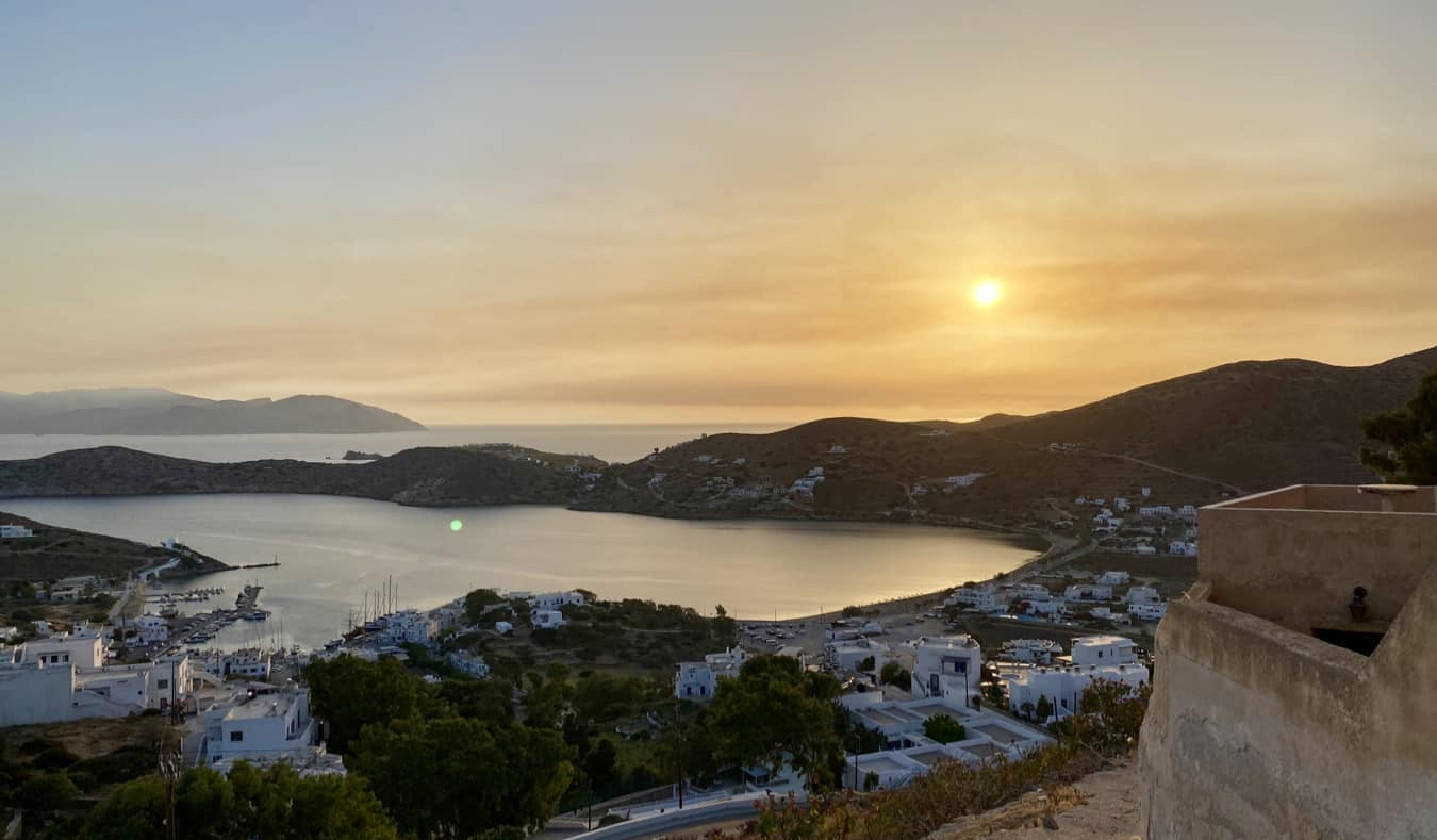 A picturesque sunset on an island in Greece