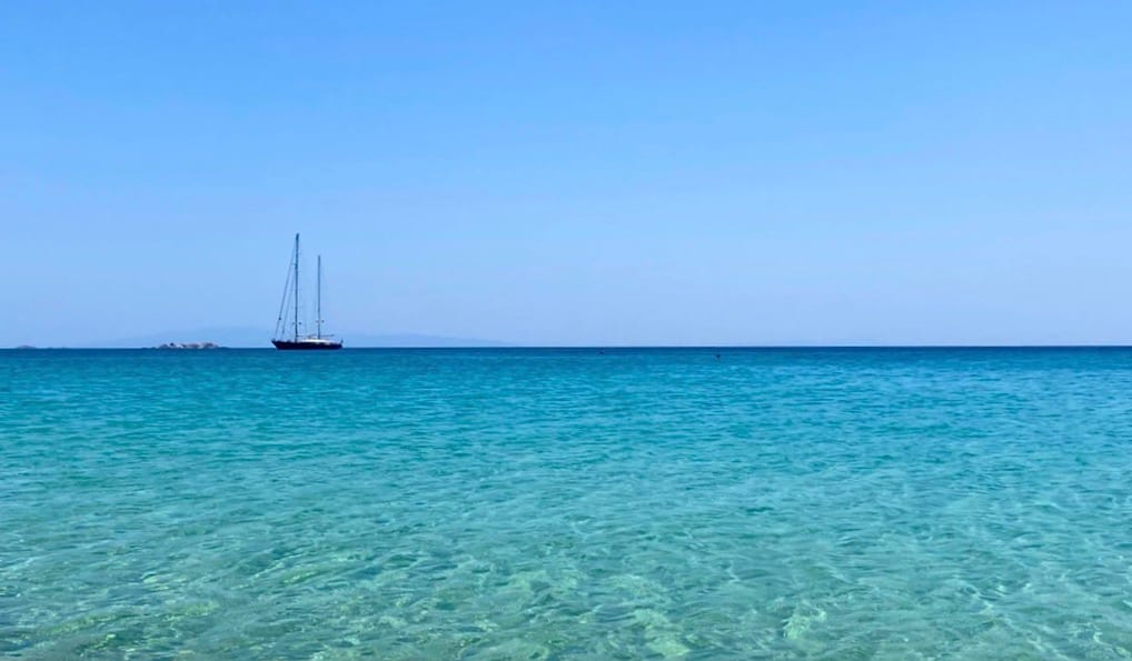 The clear waters of Naxos in Greece