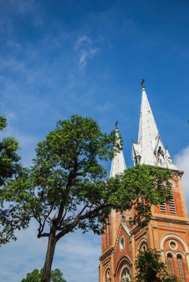 The towering Notre Dame cathedral in Ho Chi Ming City, Vietnam