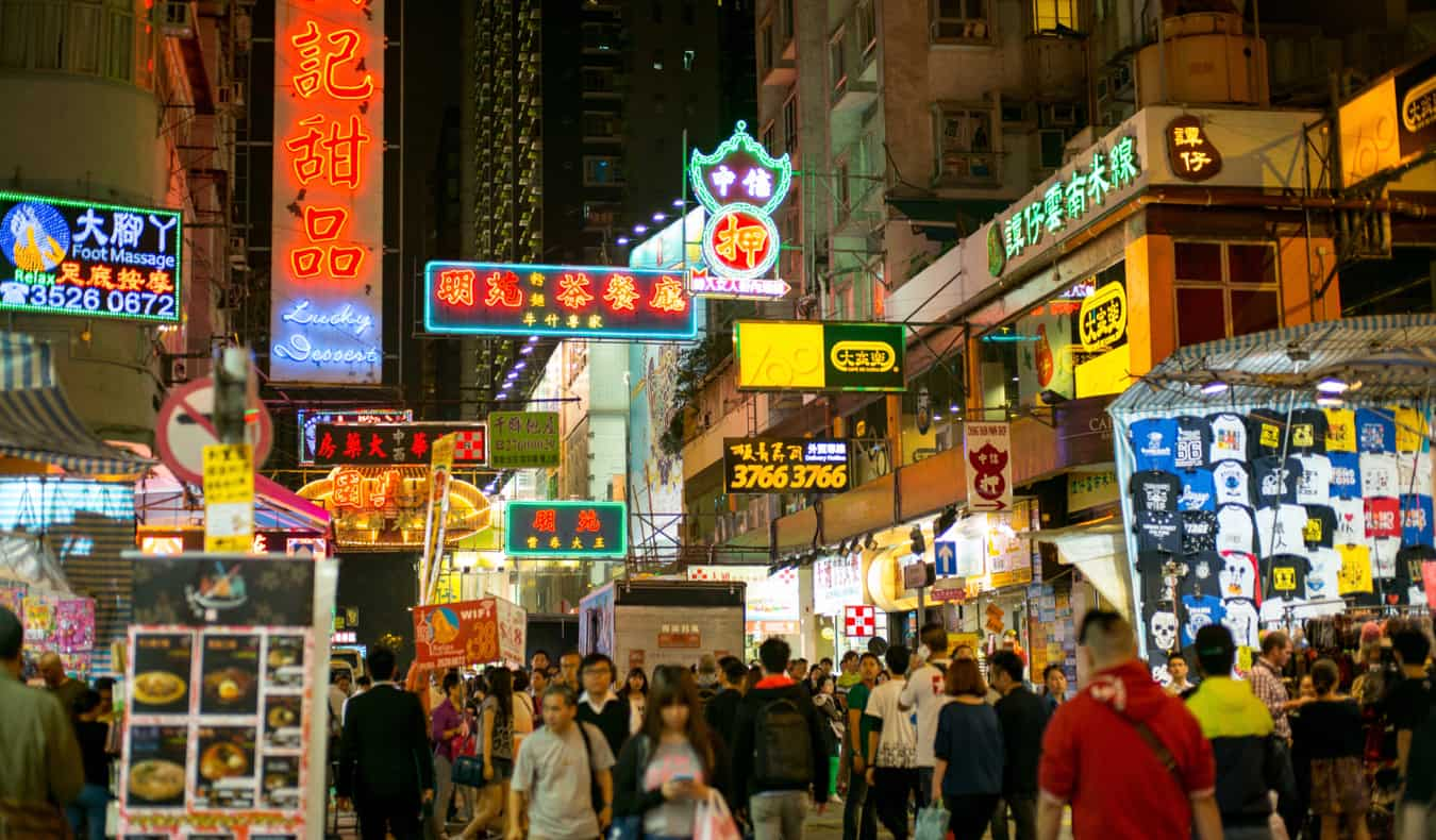 the bustling streets of Mong Kok in Hong Kong