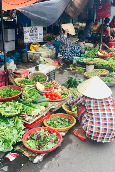 A local market stand in Hoi An, Vietnam