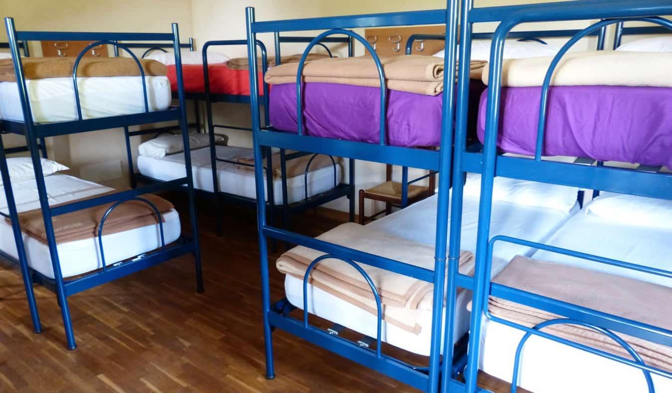 an hostel dorm full of bunk beds