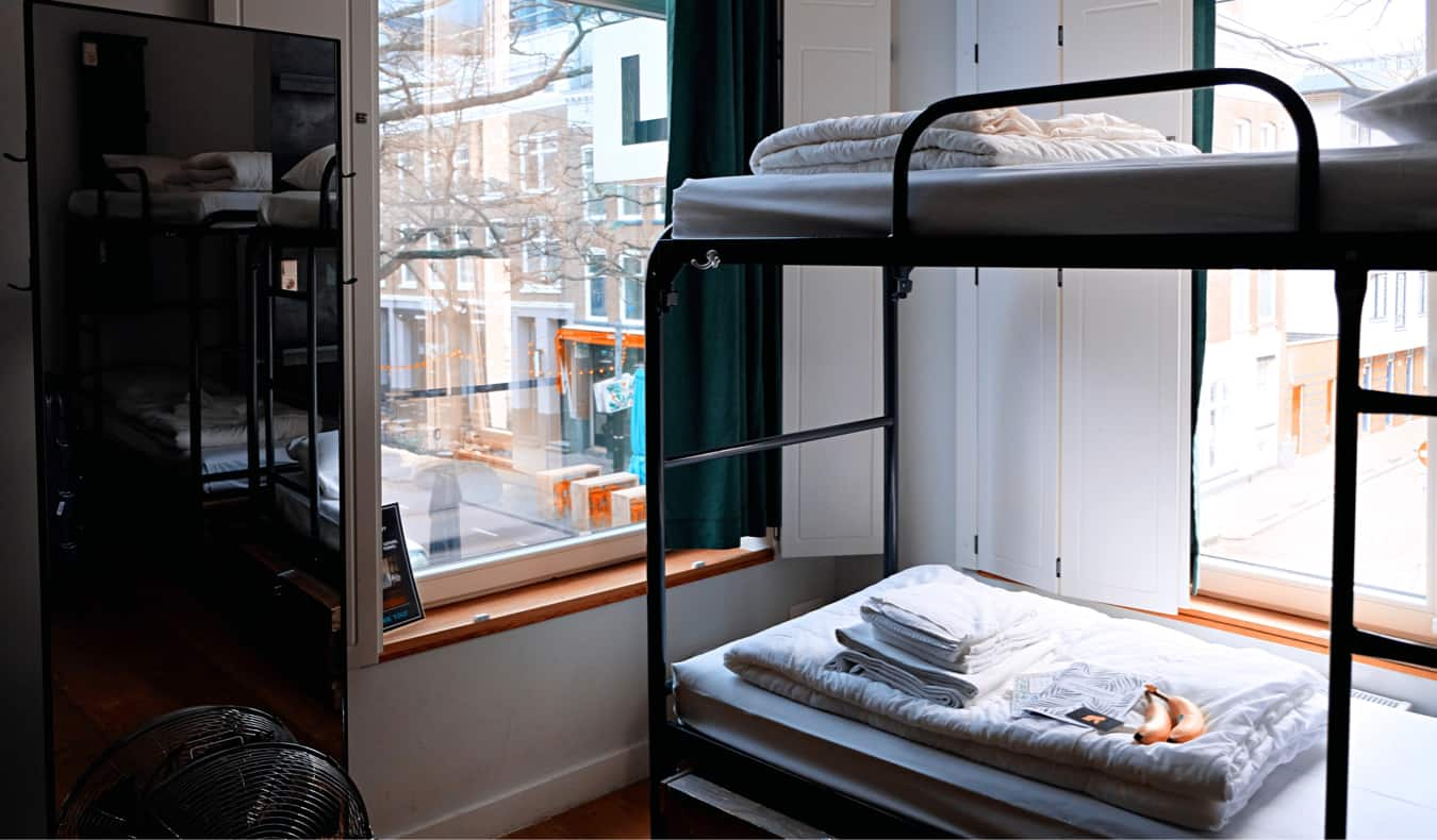 Bunk beds in a dorm room in a hostel