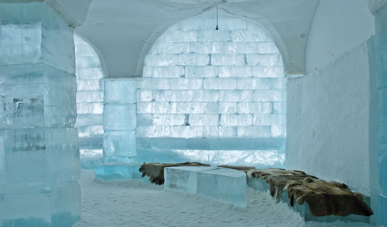 The icy interior of the Swedish Ice Hotel in Northern Sweden