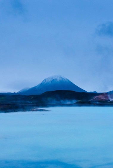 a steamy scene from the Mývatn Nature Baths in Iceland