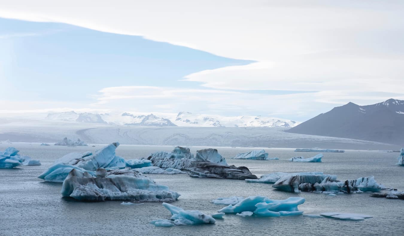 Icebergs in the lagoon in Iceland
