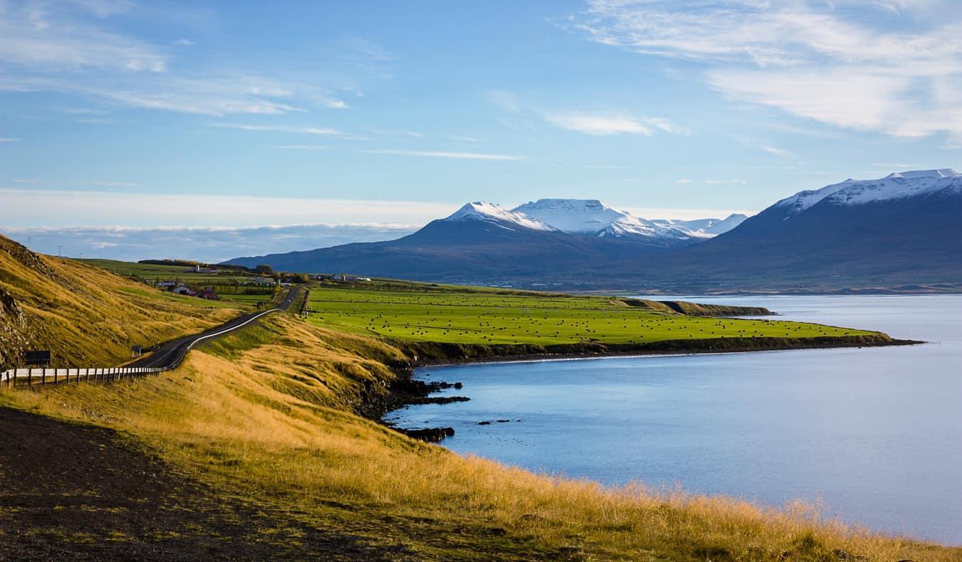 Sprawling fields near Akureyri, Iceland