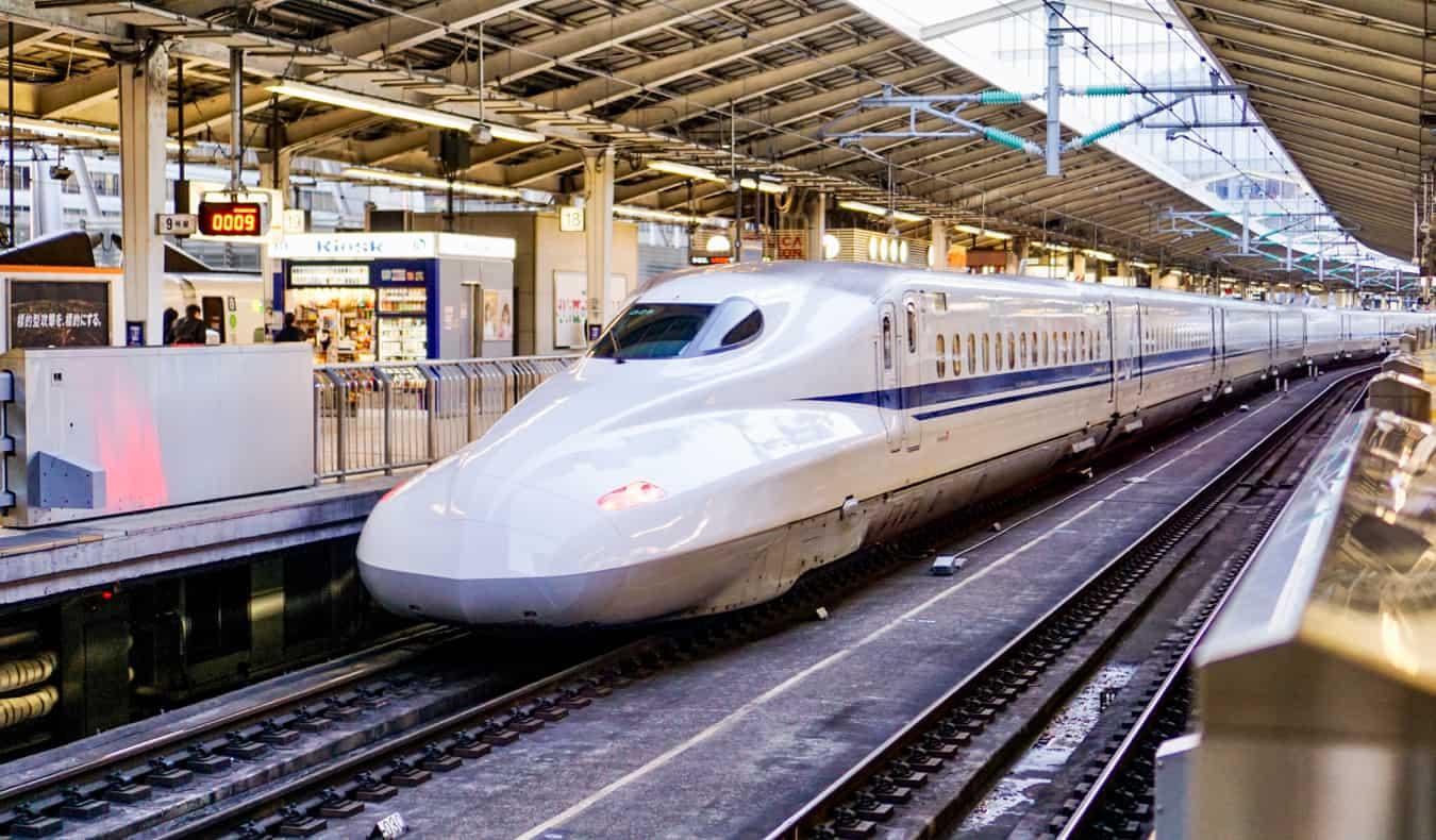 A super fast shinkansen bullet train in Tokyo, Japan