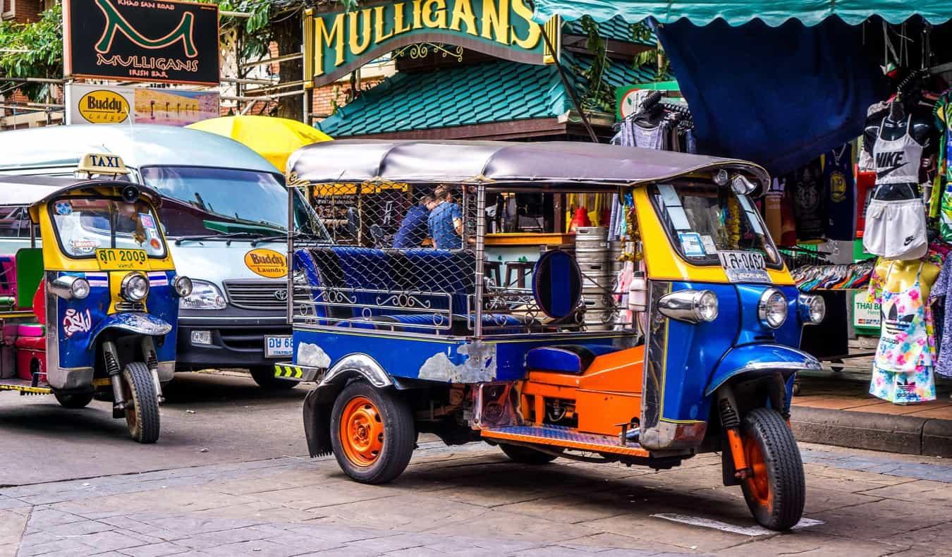 Tuk-tuks on Khao San road in Bangkok
