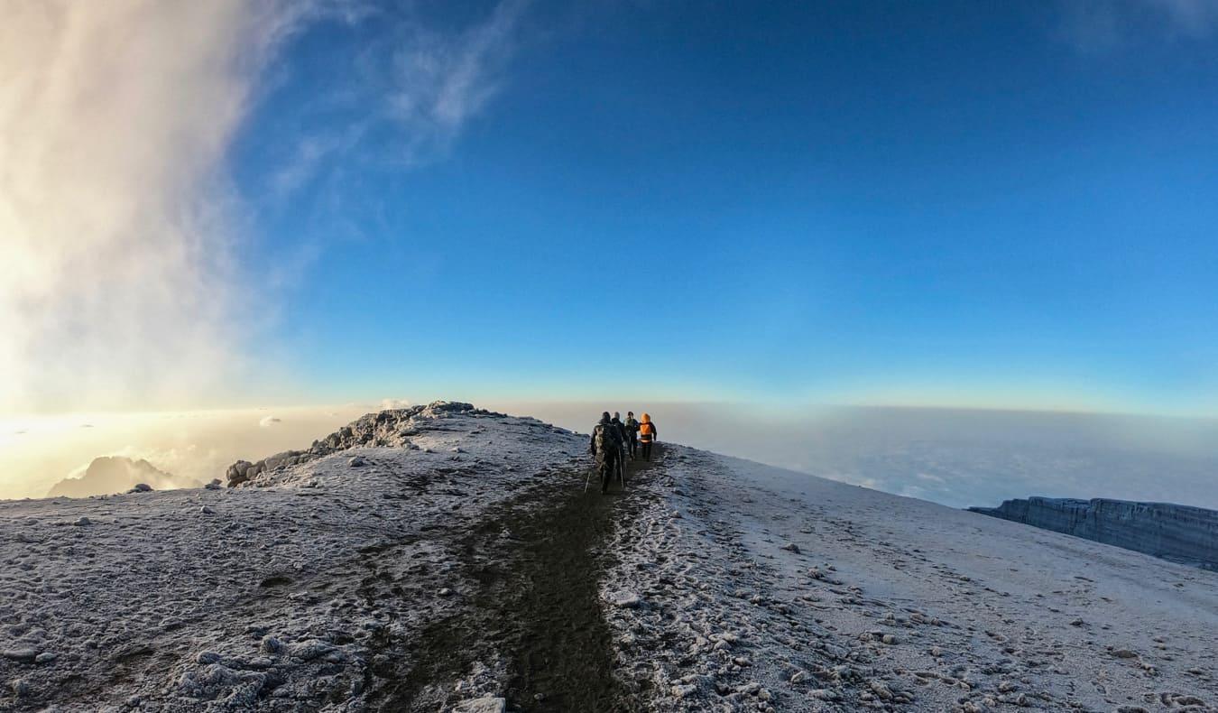 The snowy path near the summit of Mount Kilimanjaro