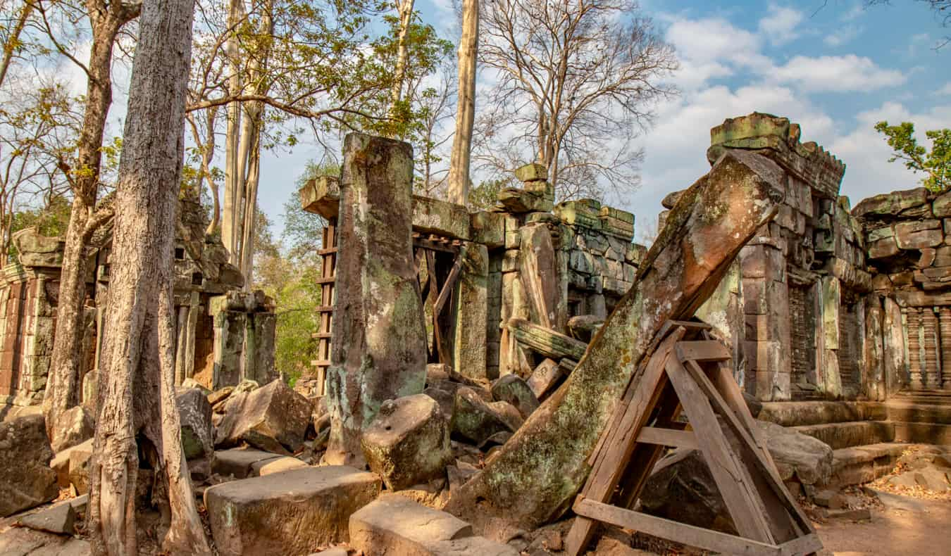One of the many ancient temples covered in jungle at Koh Ker in Cambodia