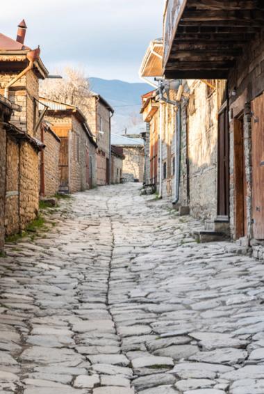 A narrow cobblestone alley in Lahij, Azerbaijan