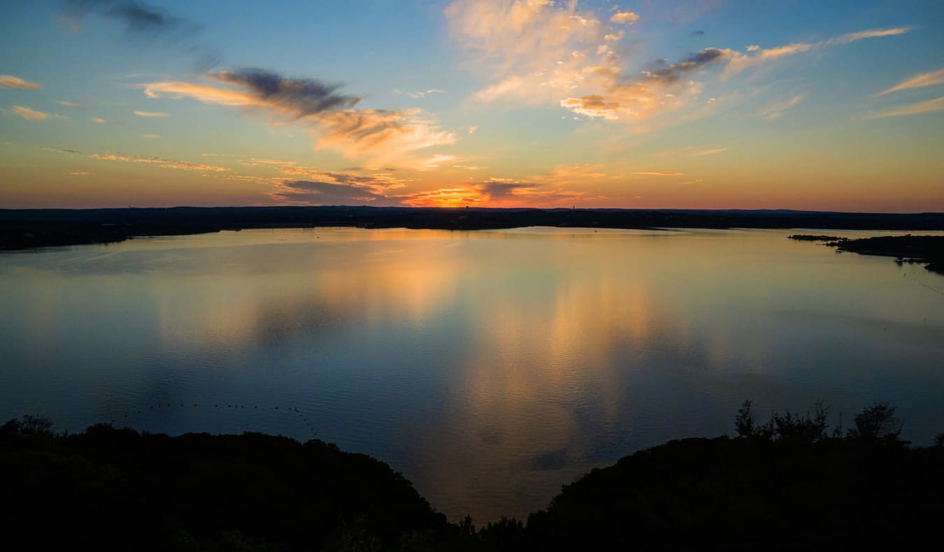 The calm waters of Lake Travis near Austin, Texas
