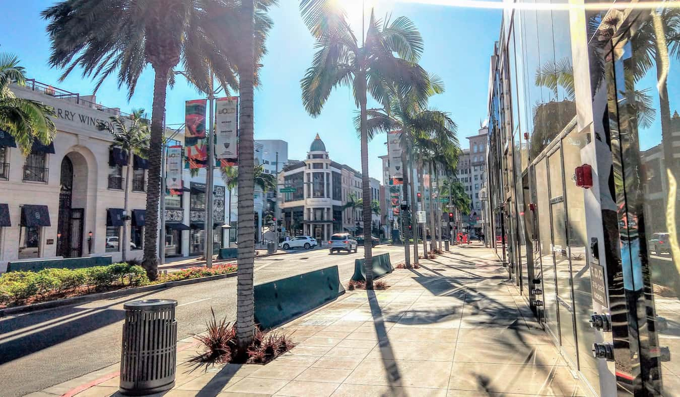 A luxurious shopping street in Beverly Hills, Los Angeles on a sunny summer day