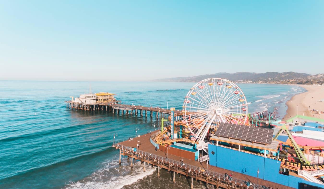 The Santa Monica Pier in summer in Los Angeles, California