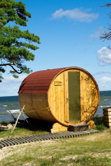 A traditional sauna by the coast in Latvia