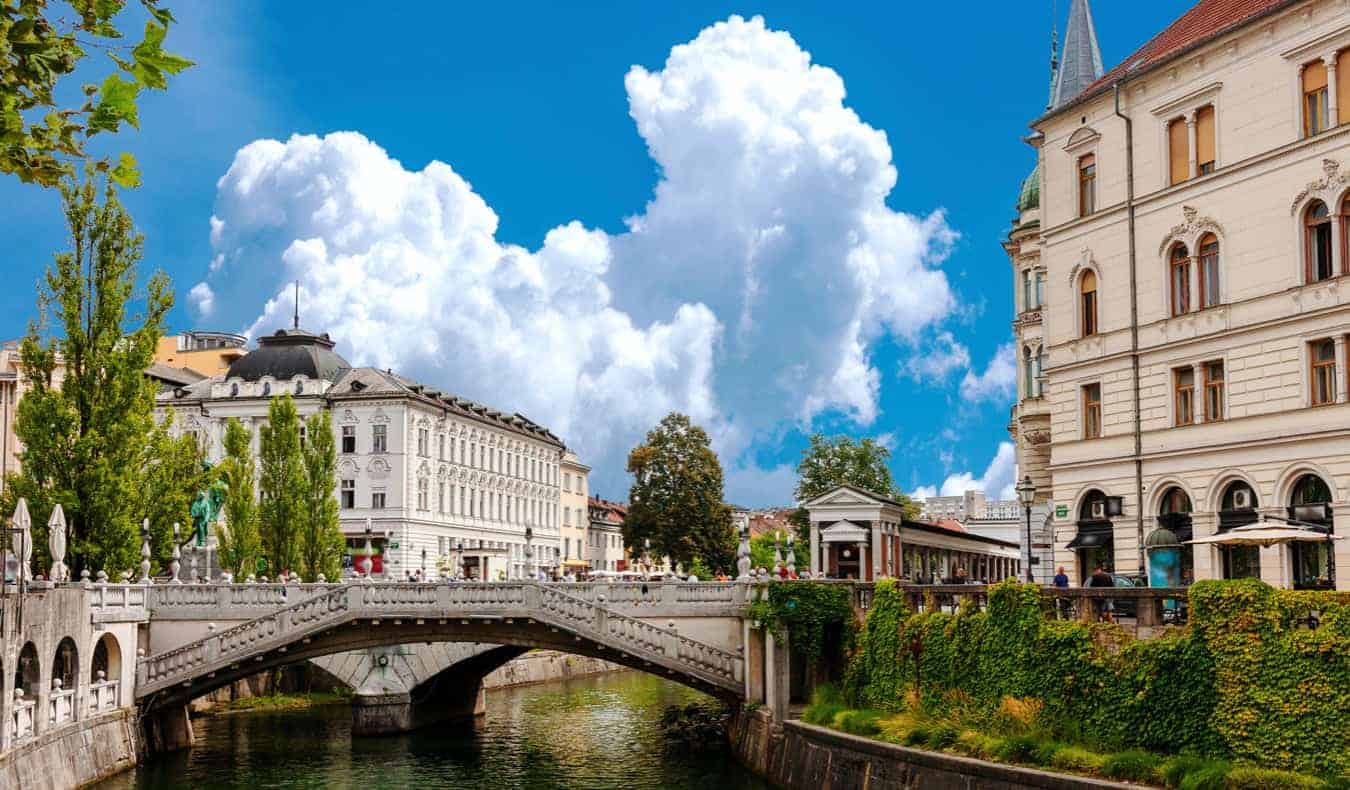 The Old Town in Ljubljana, Slovenia on a bright summer day