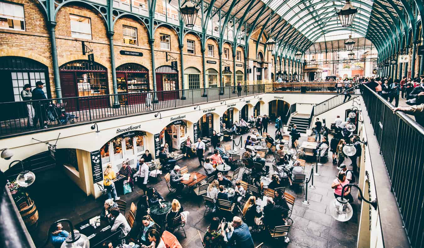 Inside a small market in Covent Gardens, London