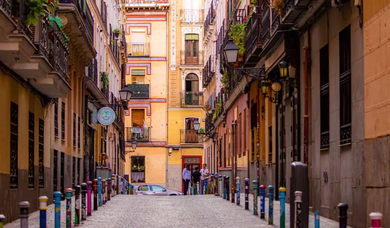 A narrow, empty street in Malasana, Madrid on a quiet day