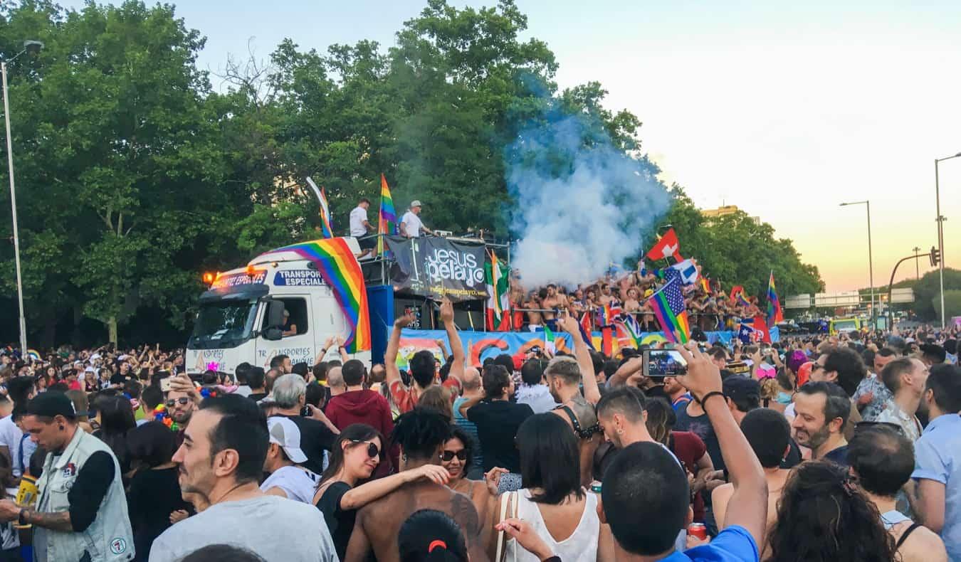 People celebrating WorldPride in Madrid, Spain