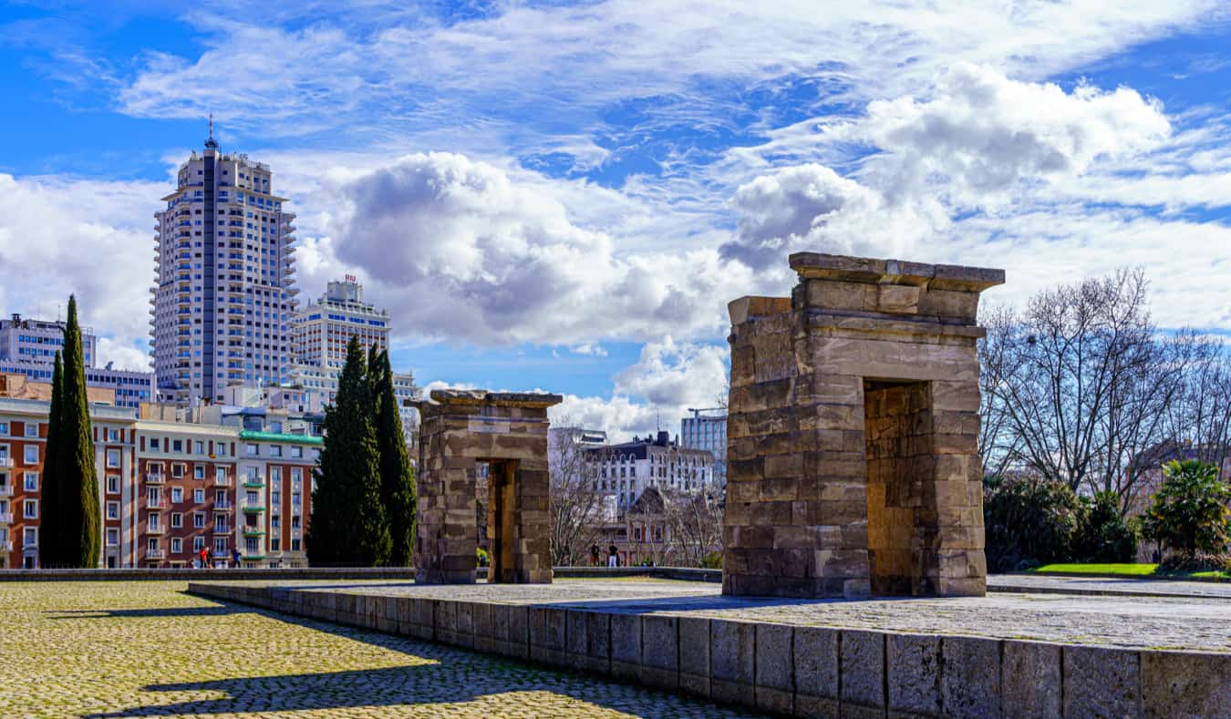 The ancient Temple of Debod in Madrid, Spain