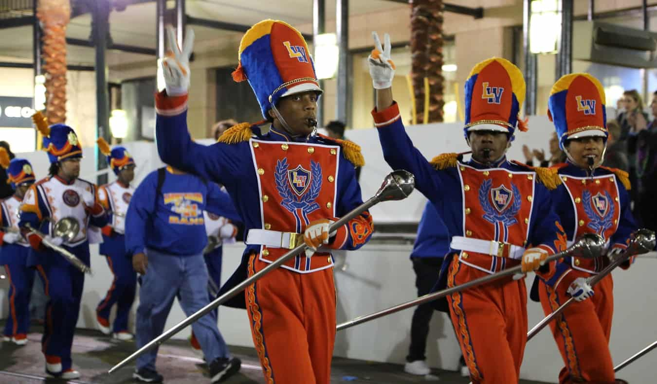 A band performing during the Mardi Gras parade in NOLA