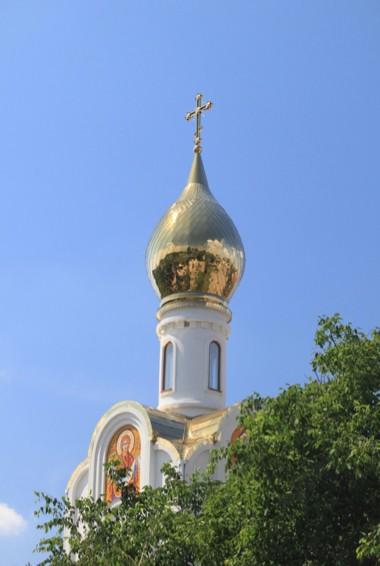 A white church tower in Transnistria near Moldova