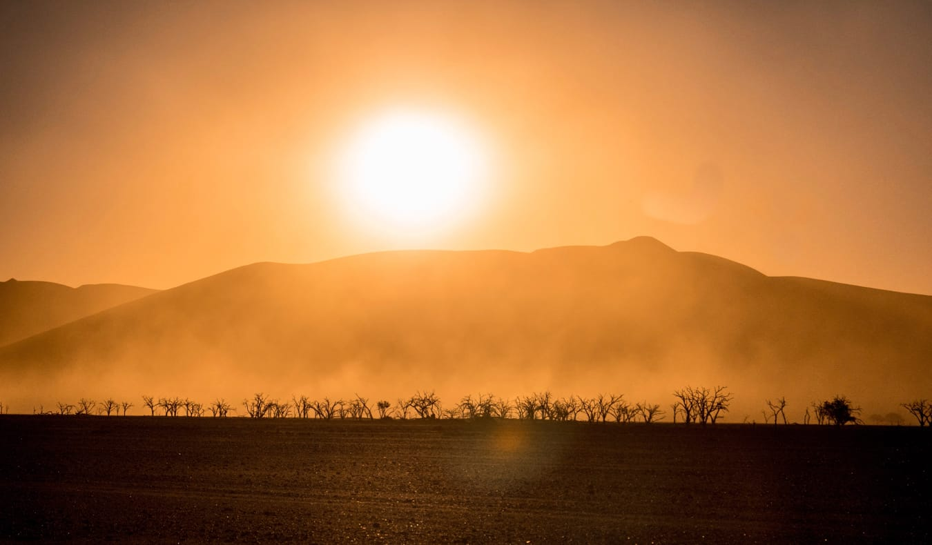 The bright sun shining over the desert in Namibia