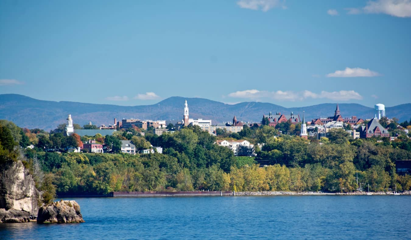 The skyline of Burlington, Vermont as seen from over the lake