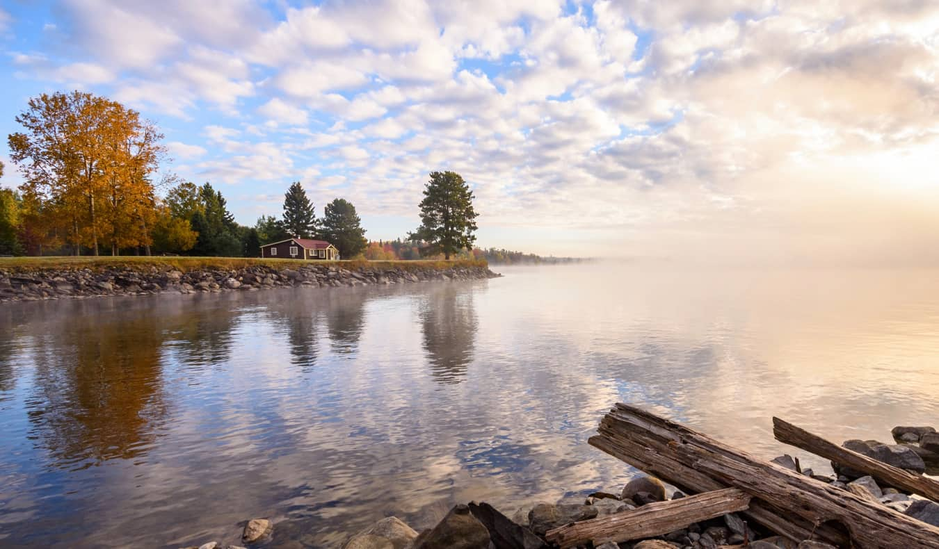 The calm waters of Moosehead Lake in Maine, USA