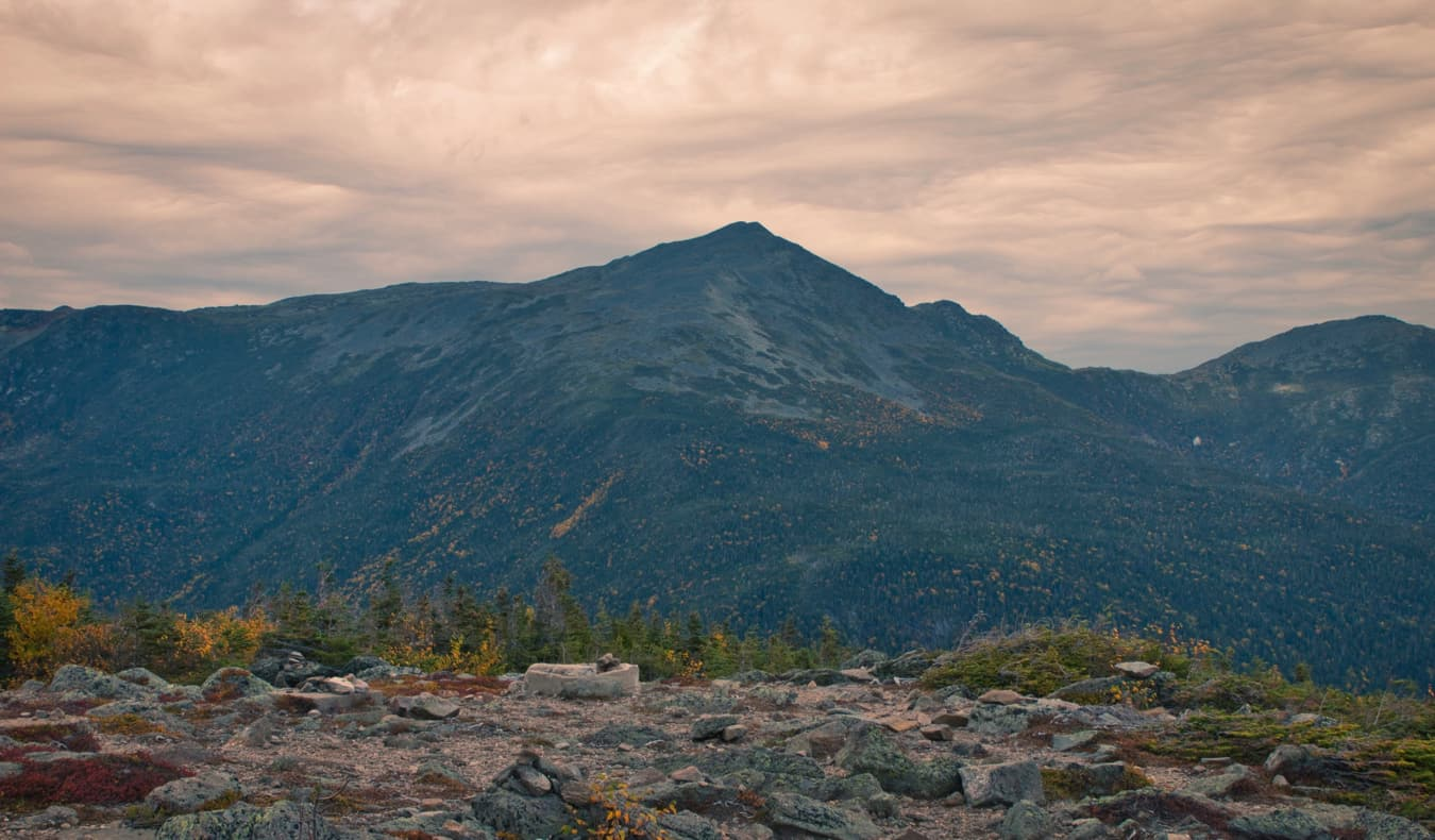 Mount Washington, New Hampshire as seen from the distance at sunset