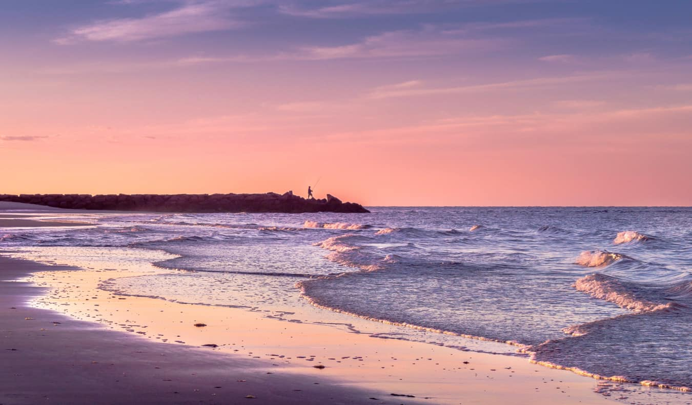 A purple sunset on the beaches of Cape Cod, USA