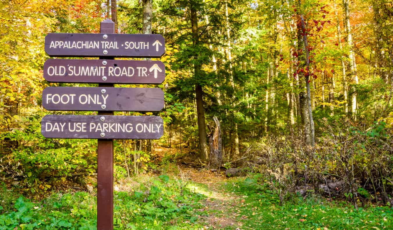 An old hiking sign in the forest near Mount Greylock in The Berkshires