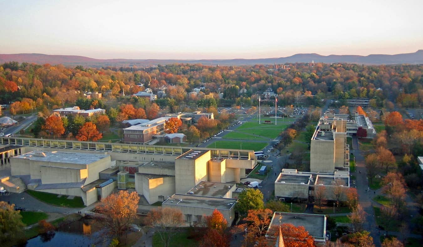An aerial view of the UMass campus in Amherst, Massachusetts