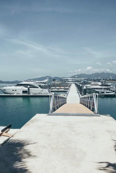 The dock near a few luxury yachts in Nha Trang, Vietnam