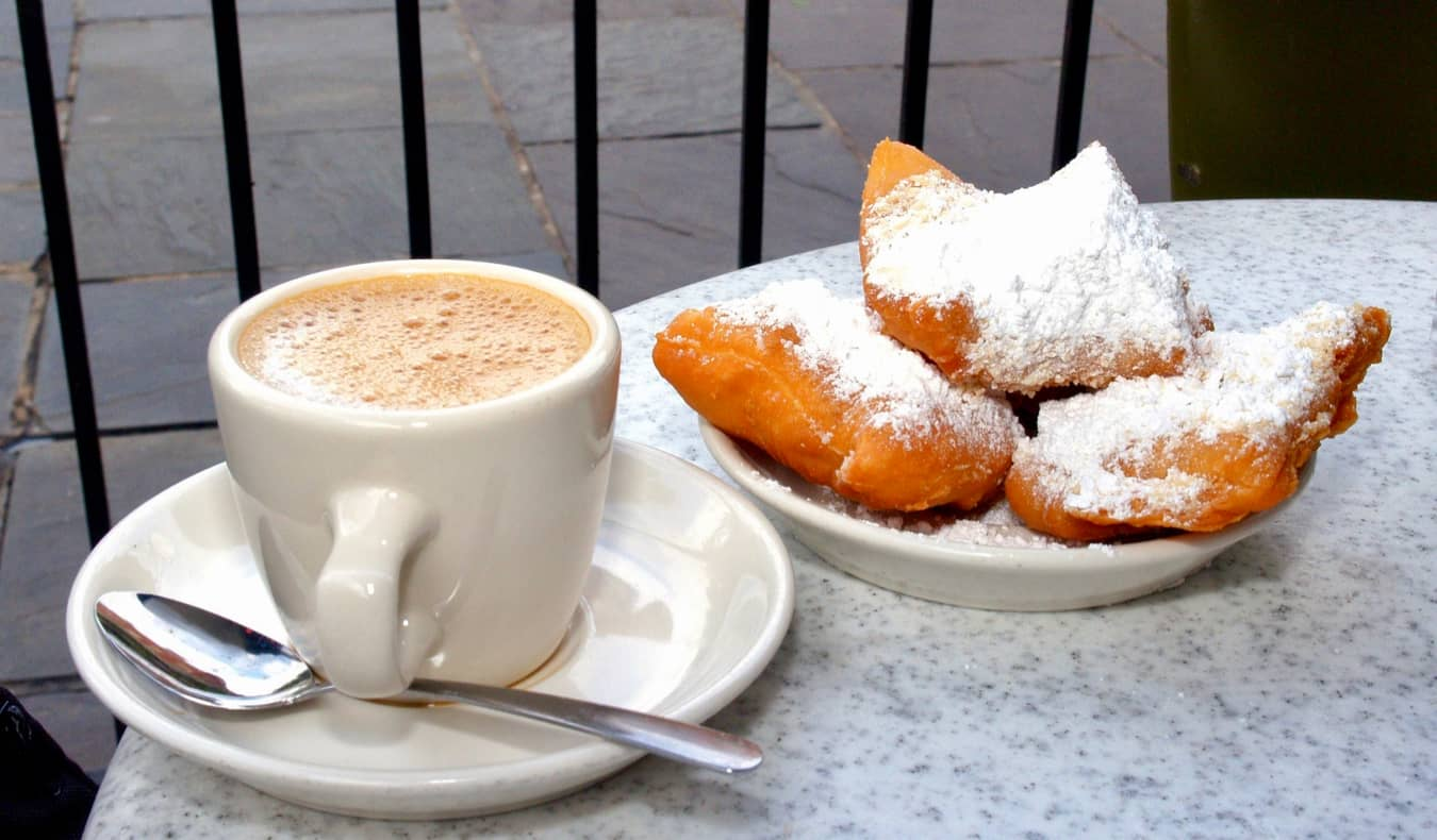 Coffee and dessert at a cafe in New Orleans