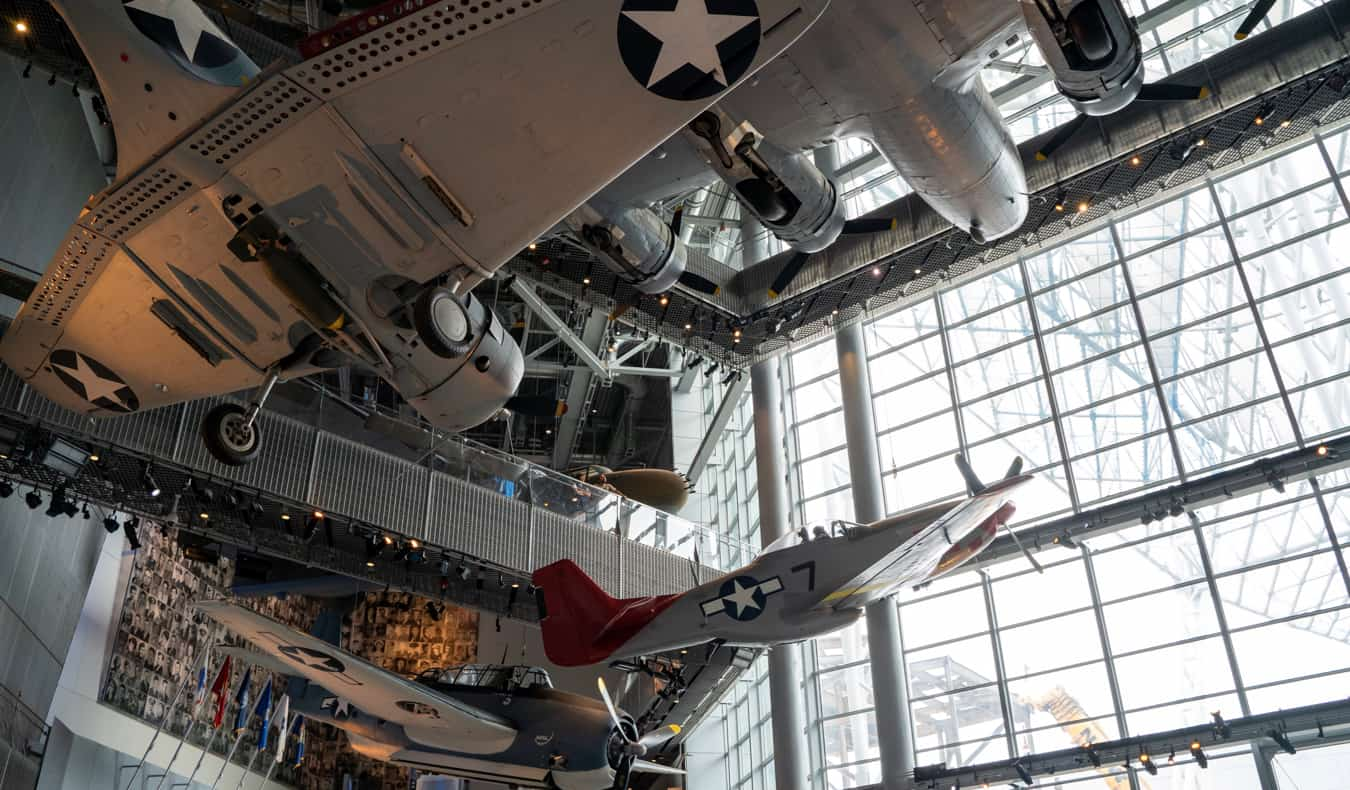 Planes hanging in the air at the World War II museum in New Orleans, USA