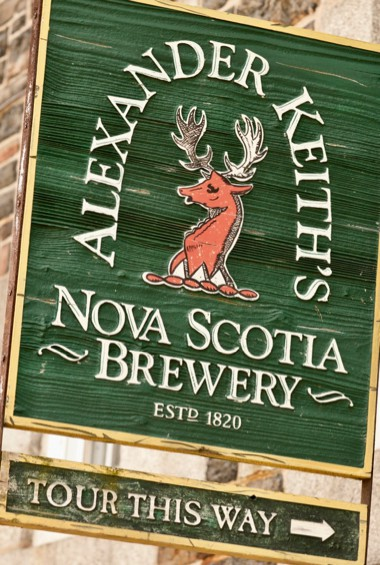 The tour sign for Alexander Keith's brewery in Nova Scotia